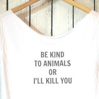 FREE SHIPPING- Hipster Animal Shirt, Hipster Style, Off Shoulder Shirt, (women, teen girls) PITA shirt