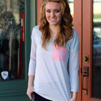 Pocket Full of Stripes Top {Lilac Mix}