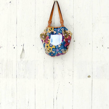 Boho Bag, Floral Purse , upcycled gypsy purse , hippie chic bohemian bag , recycled refashioned clothing eco friendly by wearlovenow