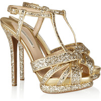 Nicholas Kirkwood | Glitter-finished leather sandals | NET-A-PORTER.COM