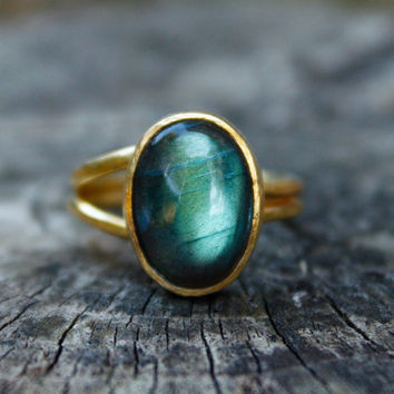Aqua Green and Blue Labradorite Gold Ring - Oval, Adjustable Ring