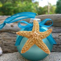 Starfish Coastal Ornament-TIFFANY BLUE FROST-Cottage Home Decor, Starfish Beach Weddings, Beach House, Hostess Gift