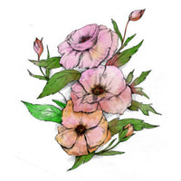 Pink Vintage Flower - Single Tattoo