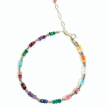 Multicolored Gemstone Bracelet- Sterling Silver