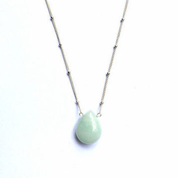 Amazonite Teardrop Necklace- Satellite Chain- 14K Gold Fill or Sterling Silver