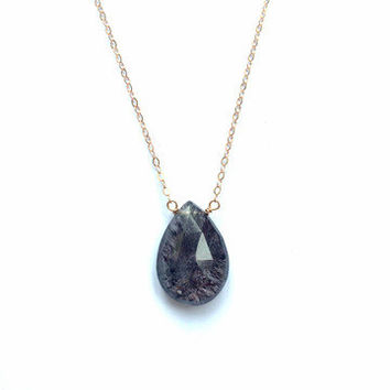Necklace- Faceted Rutilated Quartz- 14k Gold Fill, 14K Rose Gold Fill, or Sterling Silver