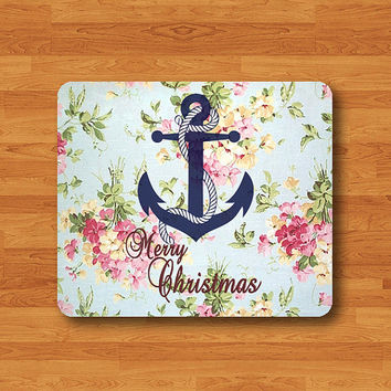 Vintage Flower Lace Floral Anchor Merry Christmas Blue Mouse Pad Black Drawing Desk Deco Rubber