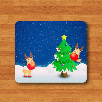 Christmas CARTOON Snow Reindeer Tree Mouse Pad Mat Wood Pattern Help Desk Deco Rubber
