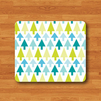 Christmas Geometric Tree Triangle Vintage Cute Mini Mouse Pad Mat Wood Pattern Help Desk Deco Rubber Gift