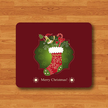 Christmas Sock Merry Christmas Words Personalized Mouse Pad Unique Mat Wood Pattern Help Desk Deco Rubber Gift