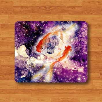 Gold Fish Japanese Style Couple Fish in Galaxy Art Hipster Goldfish Mouse Pad MousePad Desk Deco Work Pad Mat Rectangle Personal Gift
