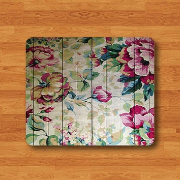 Wood Floral Rose Vintage Mouse Pad Painting Wooden Rubber MousePad Black Drawing Desk Deco Rubber Computer Pad Office Personalized Art Gift