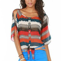 A&#x27;GACI Multi Stripe Tie Front Button Blouse - TOPS
