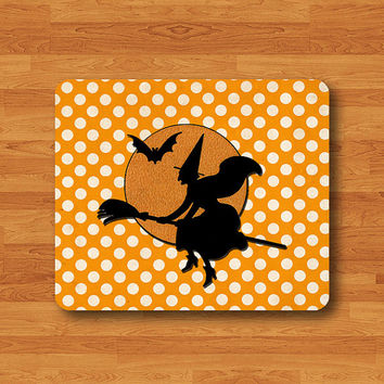 Magic Witch Riding a Broom Silhouette Cartoon Mouse Pad Orange Polkadot Night MousePad Computer Desk Deco Work Pad Personal Halloween Gift