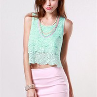 A&#x27;GACI Tier Lace Scallop Tank - TOPS