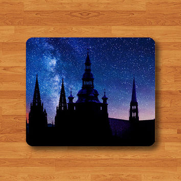 Royal Castle Tower Silhouette in Galaxy Night Mouse Pad Black Fabric Desk Deco Palace Shadow Rubber MousePad Art Gift Computer Pad Hipster