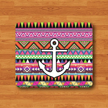Colorful Mix Pattern Aztec Tribal With Anchor  Mouse Pad Mat Art Indian MousePad Desk Deco Vintage Gift Computer Pad Personalized Gift