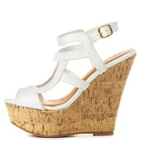 Qupid Caged Strappy Wedge Sandals by Charlotte Russe - White