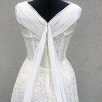 Creamy lace wedding dress with draped neckline by ladyjanedesigns