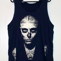 Zombie Boy Shirt Rick Genest Shirt -- Skull Tattoo Zombie Boy Shirt Women Tank Top Tunic Zombie T-Shirt Sleeveless Navy blue T-Shirt Size M