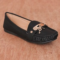 Natures Breeze Under Lock And Key Metal Charm Faux Leather Loafers Mindie-27 - Black
