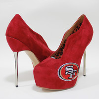 2014-2015 San Francisco 49ers Crystal Rhinestone High Heel Suede Pumps