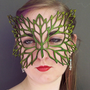Lacy Leaf leather mask in green by TomBanwell on Etsy