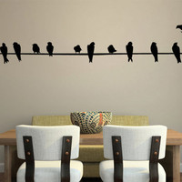 Wall Decal Art Birds on a Wire   11 FEET LONG by studiowallart