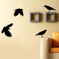 Four Crows Birds Vinyl Wall Art Decal Grand by studiowallart