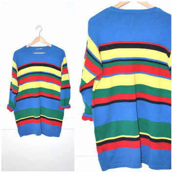 early 90s STRIPED long sweater vintage 1990s GRUNGE slouchy PRIMARY colour cotton knit oversized pull over jumper os