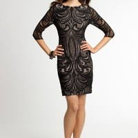 Jaquard Lace Dress with 3/4 Sleeves