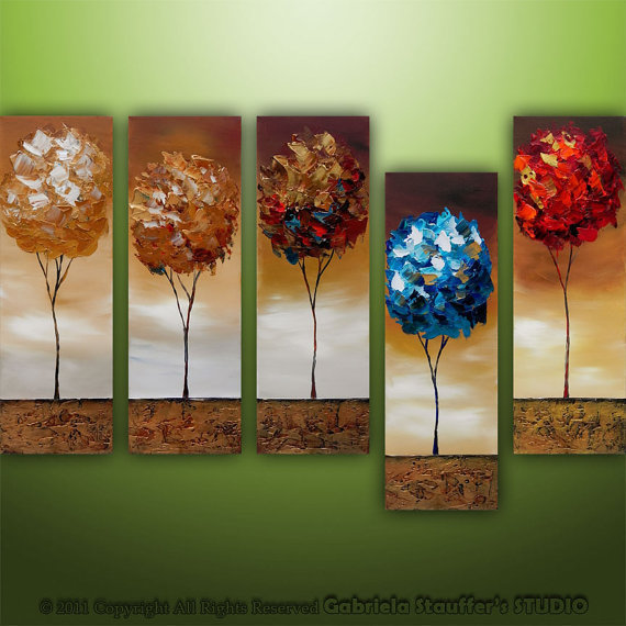 Abstract Modern Landscape Trees Original Modern Art by by Catalin