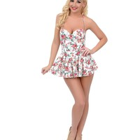 Esther Williams Vintage 1950s Style Pin-Up Cream & Pink Floral Fit N Flare Bandeau One Piece Swimsuit
