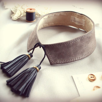 leather tassel collar - detached taupe genuine leather choker with front fringe ties in black - made to order by Needless Studio