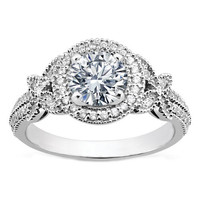 Engagement Ring - Vintage Style Round Diamond Halo Butterfly Engagement Ring - ES1051BR