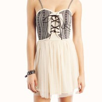 printed-corset-tulle-dress BLACKCREAM - GoJane.com