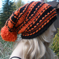 Halloween Orange And Black Striped Slouchy Hand Knit Oversized Ribbed Woodsy Beanie Hat With Pom Pom