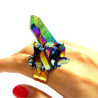 Titanium Quartz Rainbow Aura Crystal Point Cluster Druzy Ring n.2 by AstralEYE