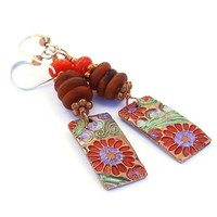 Colorful Painted Flowers Handmade Earrings Copper Horn Red Coral Boho