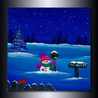 Christmas Print: Snowman and Bird