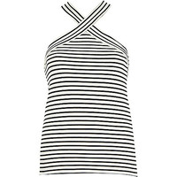 River Island Womens Cream stripe fitted cross neck top