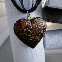 Heart of Time -- Dark Antique brass locket
