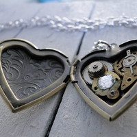 Heart of Time -- Antique brass locket