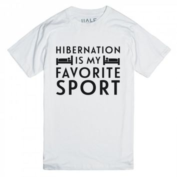 Hibernation is my Favorite Sport-Unisex White T-Shirt
