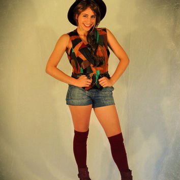 Vintage patchwork leather and suede vest waistcoat in fall colours / festival vibe and hippie folk western charm