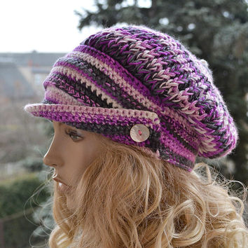 Crocheted,knitted  beanie Slouchy Hat  PEAKED CAP Winter Fashion , very warm, women slouchy hat,Girls Hat,unique gifts