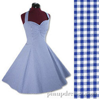 New Retro Blue Gingham Check Vintage Style Halter Swing Pinup Dress
