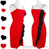 Vintage 80s Red Ruffled Body Con Prom Party Dress M