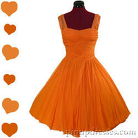 Emma Domb Vintage 50s 60s Chiffon Tangerine Bridal Prom Party Dress