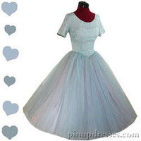 Vintage 50s Blue Tulle Cupcake Lace Full Skirt Floral Party Dress XS